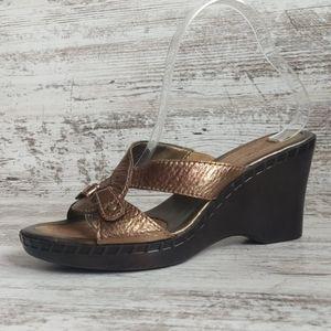 🔴NWOT Bandolino Bronze Leather Wedge